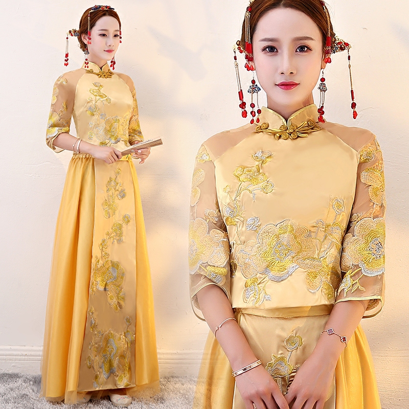 Golden Floral Embroidery Wedding Qun Kwa