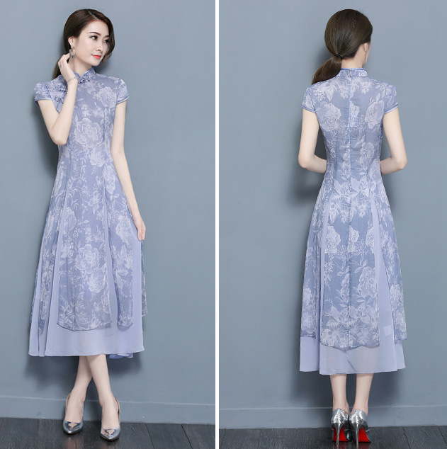 Blue Floral Midi Qipao / Cheongsam Dress in Linen