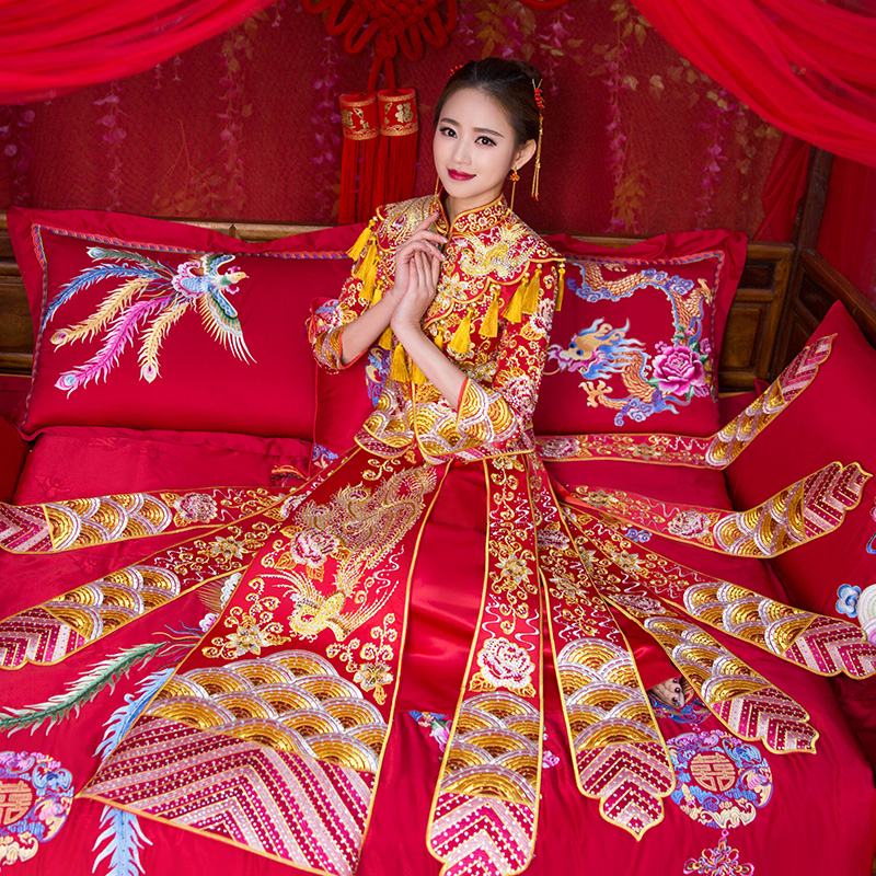 Red Embroidered Phoenix Wedding Qun Kwa with Tassel Scarf