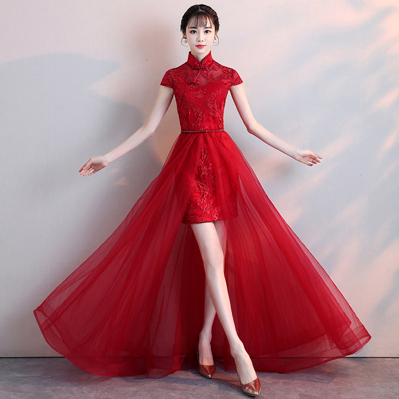 Red Lace Qipao / Cheongsam Wedding Dress with Detachable Skirt
