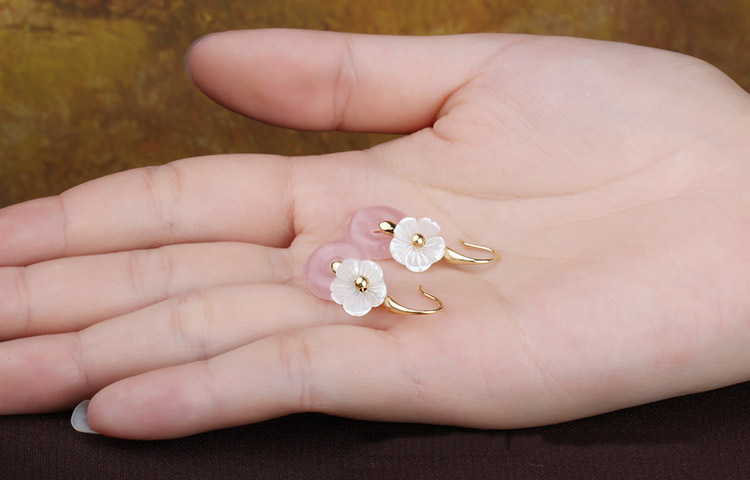 Pink Quartz Drop Earrings, Chinese Wedding Dangle Earrings