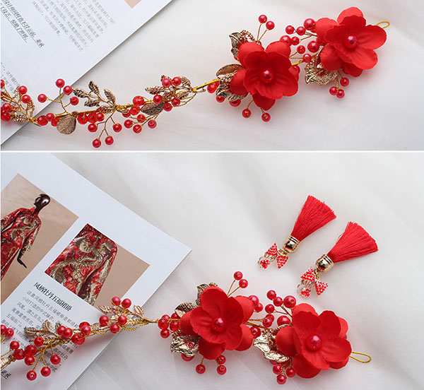 Silk Blossom & Red Crystal Bridal Hair Vine