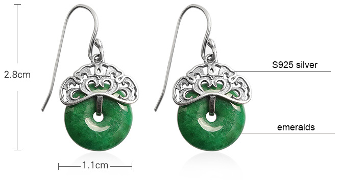 Emerald  Earrings, Silver Dangle Drop Earrings