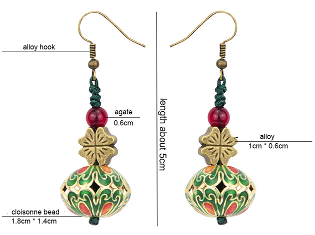Cloisonne Dangle Earring, Alloy Drop Earrings