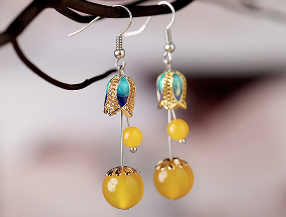 Yellow Agate Dangle Earring, Cloisonne Drop Earrings