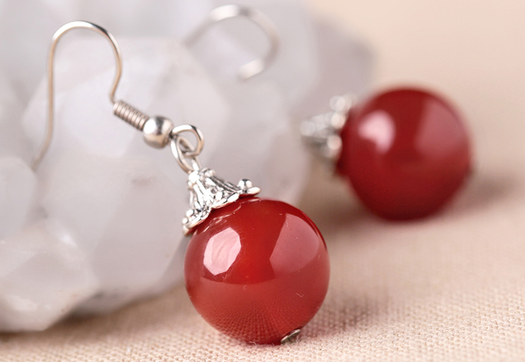 Red Agate Dangle Drop Earrings