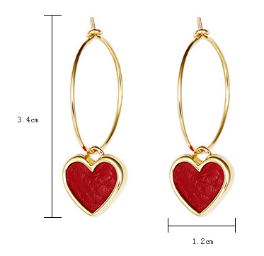 Red Heart Drop Earring, Hoop Drop Earrings
