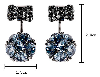 Bowknot Blue Champagne Crystal Drop Earrings