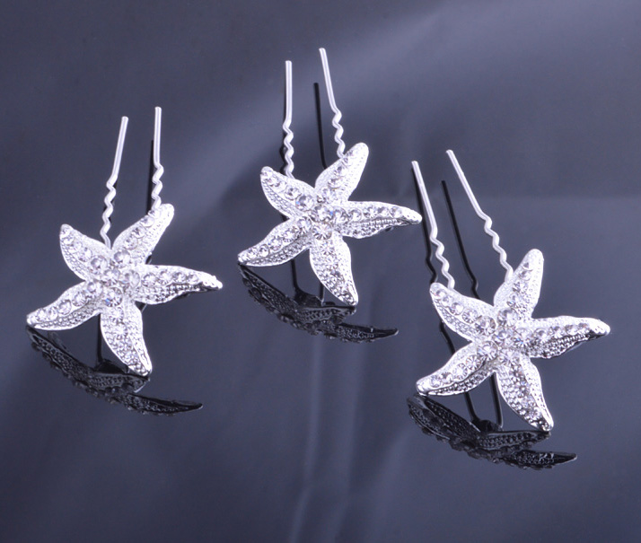 Rhinestone Starfish Buttons Crystal Bridal Hair Clips