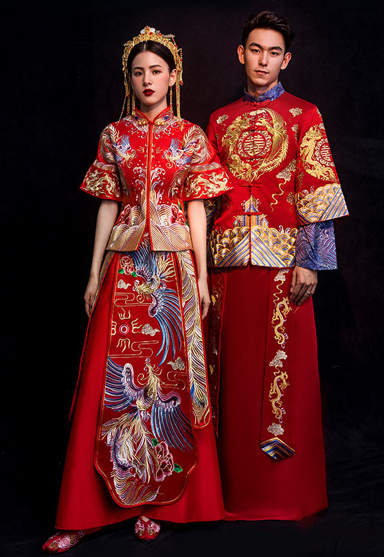 Red Half Sleeve Embroidered Phoenix Chinese Wedding Qun Kwa