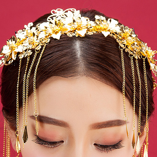 2 Piece Golden Traditional Chinese Bridal Chain Hair Vine