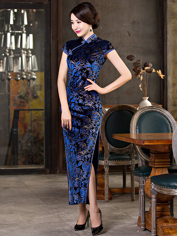 Blue Velour Ankle-length Cheongsam / Qipao Evening Dress with High Split