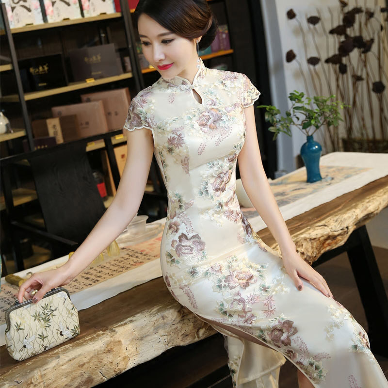 Custom Made Embroidered Long Qipao / Cheongsam Party Dress