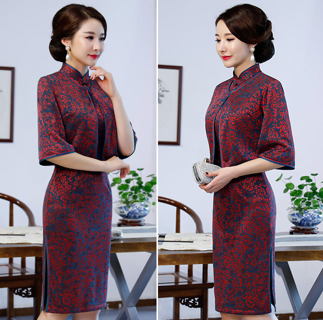 2-Piece Red Midi Qipao / Cheongsam Dress & Jacket