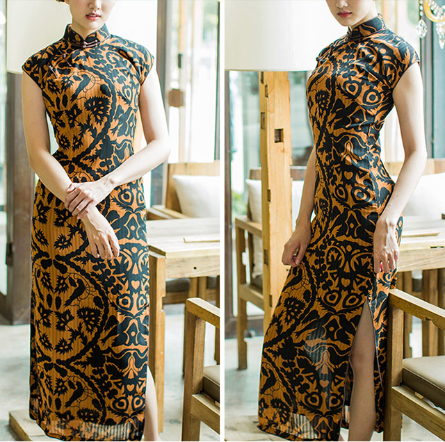 Colorblock Print Chiffon Long Qipao / Cheongsam Dress