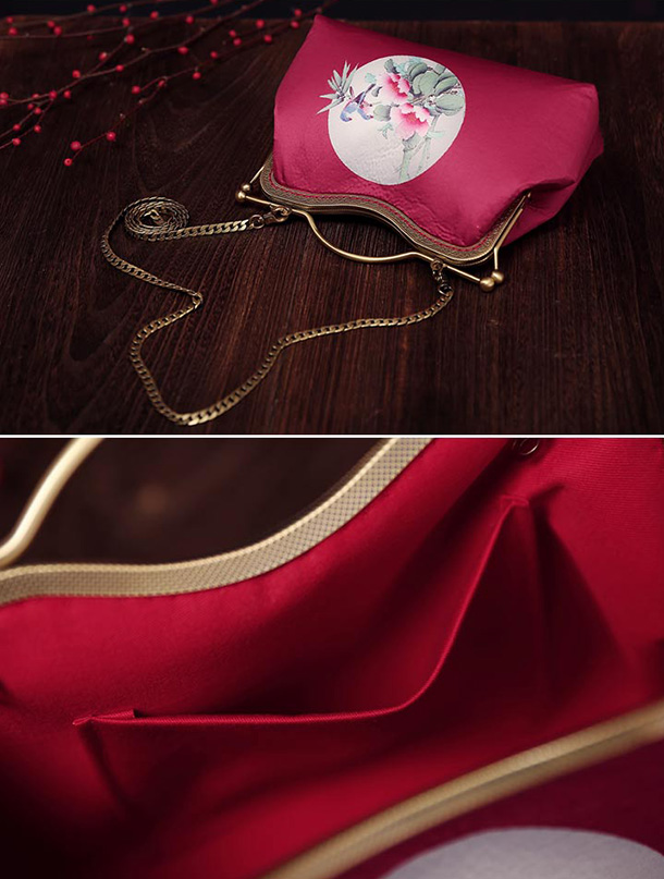 Red Printing Chain Strap Top Handle Clutch Bag