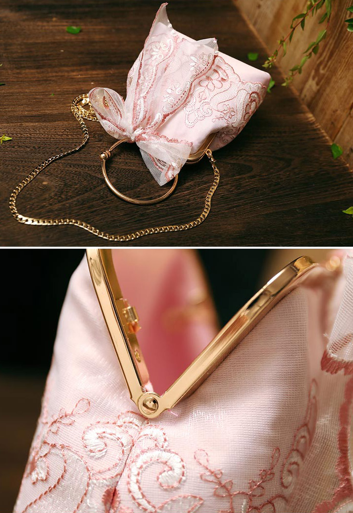 Pink Lace Chain Strap Ring Handle Bag