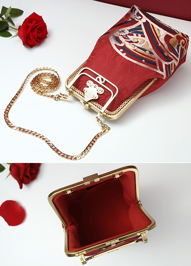 Red Woven Chain Strap Top Handle Purse Clutch Bag