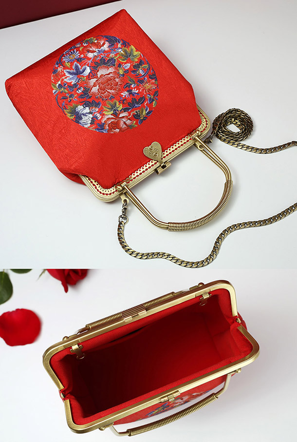 Red Floral Chain Strap Top Handle Clutch Bag