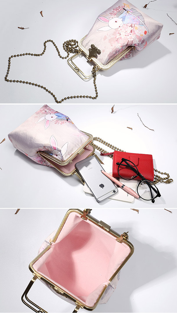 Pink Rabbit Printing Chain Top Handle Clutch Bag