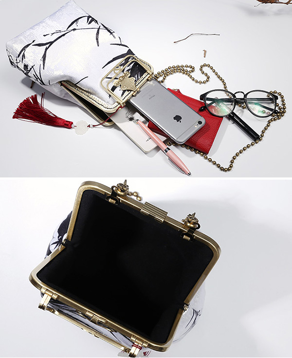 Bamboo Printing Chain Top Handle Clutch Bags