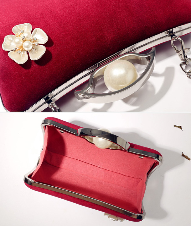 Red Velvet Chain Clutch Wallet Bag