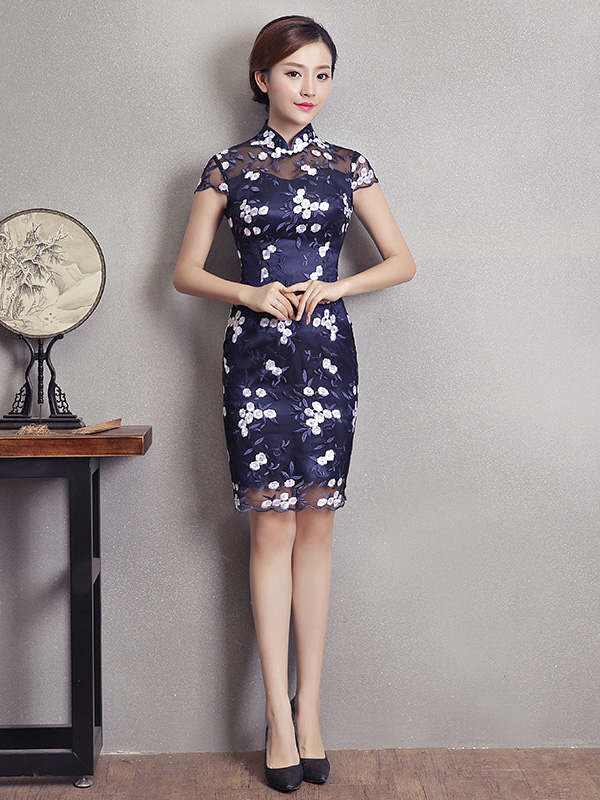 Blue Embroidered Qipao / Cheongsam Party Dress