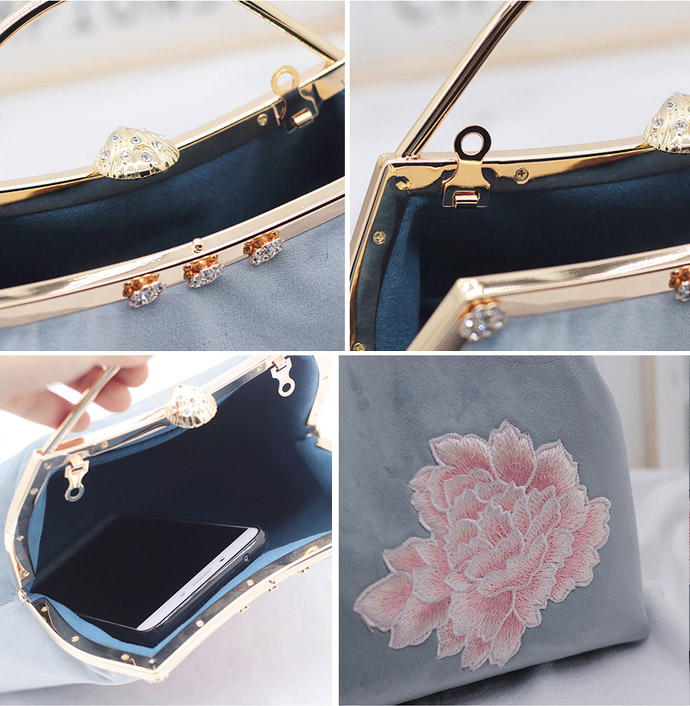 Blue Embroidered Chain Top Handle Clutch Bags