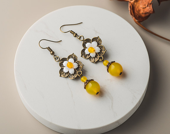 Yellow Agate Dangle Earrings, Clip On Pierced Earrings