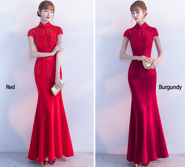 Red Mermaid Fishtail Qipao / Cheongsam Wedding Dress
