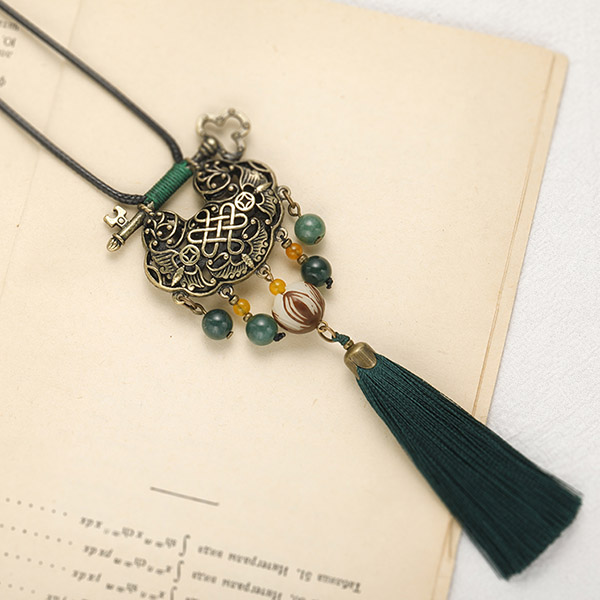Alloy Longeval Lock Adjustable String Tassel Necklaces