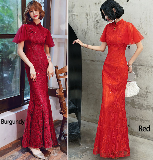 Red Flutter Sleeve Mermaid Qipao / Cheongsam Wedding Dress