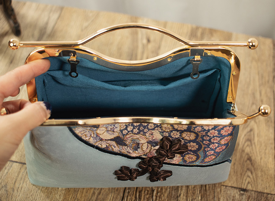 Blue Shoulder Cross Top Handle Qipao Handbag