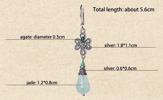 Silver Jade Drop Dangle Clip On Pierced Earrings
