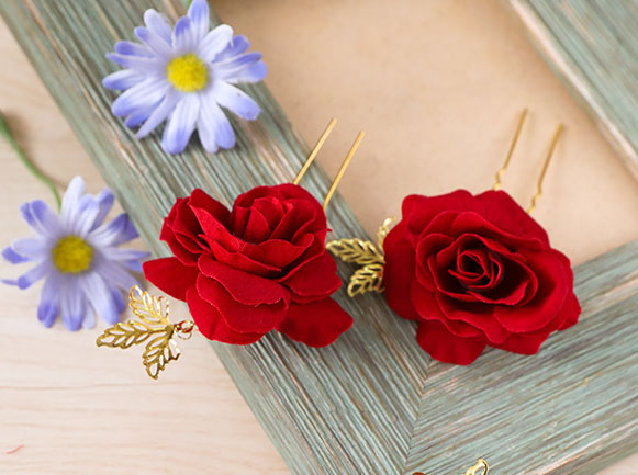 3 Pieces Fabric Red Rosette Bridal Hair Pins Set